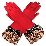 GLOVEABLES Red Glove Leopard trim