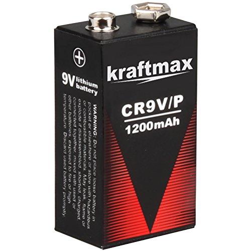 kraftmax 1x 9V Block Lithium Hochleistungs- Batterien für Rauchmelder/Feuermelder - 10 Jahre...