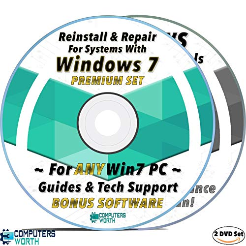 CW Repair Install Recovery AntiVirus DVD Set for Windows 7 Systems, Bootable Disc w/ Drivers & Software For All Win7 Computers