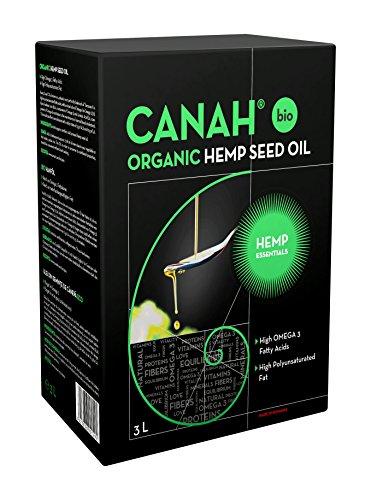 Natürliches Hanfsamenöl von Canah 3 Liter BIO - kaltgepresstes, roh, vegan, reich an Omega-3 Omega-6 Fettsäuren, trägt zum normalen Blutcholesterinspiegel bei, enthält Vitamin-E Koscher zertifiziert