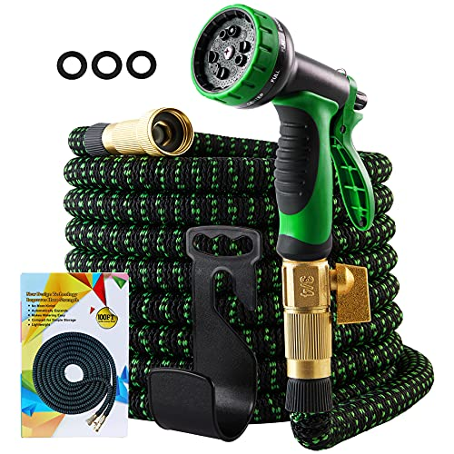 """Meluvici Colapsable Garden Hose,Retractable Water Hose 100 ft With 3/4"""" Solid Brass Fittings Expanding for Outdoor Garden Hose (Green & Black)"""