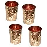 Juego de vasos de cobre puro, vasos de agua ayurvédica, capacidad 350 ml