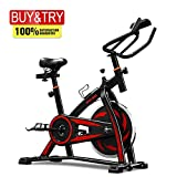 MIERES Unisex's Indoor Exercise Bike Used for Studio,Gym,Home, Whit Adjustable Handlebars & Seat On Board Computer Reads Speed, Distance, Time, Calories + Pulse,Cycles Machines, Red