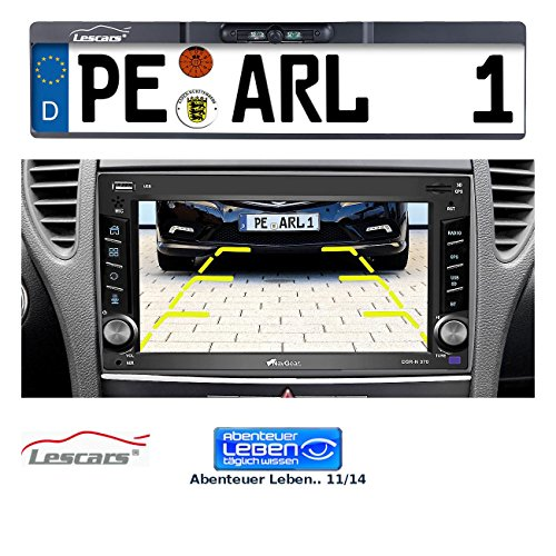 Lescars Rückfahrkamera: Funk-Rückfahr-Kamera im Nummernschild-Halter, für Autoradio-Anschluss (Rückfahrkamera Funk)