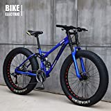 GaoFan Bicycle MTB Top, Fat Wheel Motorbike/Fat Bike/Fat Tire Mountain Bike, Beach Cruiser Fat Tire Bike Snow Bike Fat Big Tyre Bicycle 21speed Fat Bikes for Adult,Blue,26IN