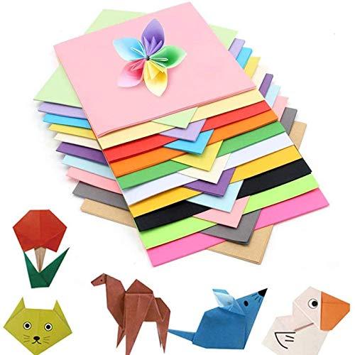 100 hojas de papel de origami de doble cara de colores vivos