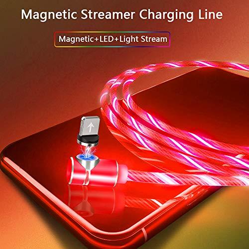 Kyerivs Magnetisches Micro USB Ladekabel Typ C mit Sichtbar Fließender LED, Multi-3-in-1-Adapter Beleuchtungs Ladekabel für Phone, Samsung Galaxy Huawei und Mehr No Sync Data