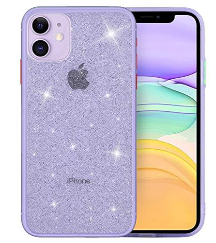 EPODA iPhone 11 Hülle Transparent Glitzer Anti Gelb Ultra Dünn Stoßfest Handyhülle iPhone 11 Schutzhülle TPU Cover Schutzrahmen Schale Case für iPhone 11 Crystal Glitter Klar (lila)