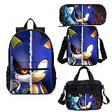 Sonic el Erizo Bolsa Sonic the Hedgehog Sonic Boy Mochila para niños Protección de crestas Mochila de niño de carga reducida con bolsa de refrigerador de comida Bolso de hombro individual 4pcs / set
