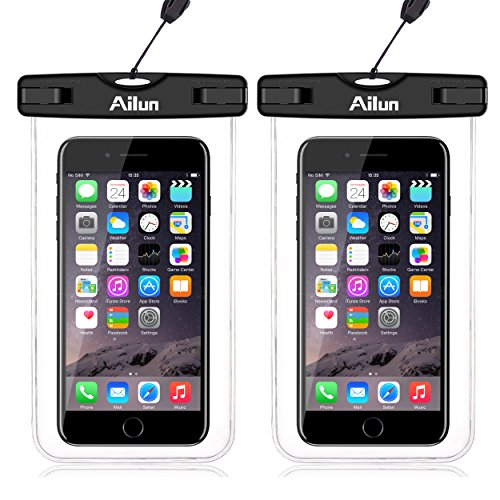 Ailun Waterproof Phone Pouch 2Pack IPX8 Snowproof Dirtproof Case Bag Universal for iPhone 12 Mini Pro Max X Xs XR Xs I13Boating Hiking Swimming Diving Clear
