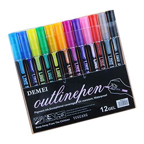 muskmelon Boligrafo de Contorno Doble Linea 12 Colores Marcadores de Contorno Brillo de Marcadores para Libros para Colorear para Manualidades Arte Rupestre Pintura