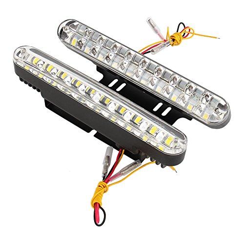 Qiilu Feux de jour 2X 30 LED Voiture 12V DC Feux de Signalisation Diurnes DRL Conduite Lumière du Jour Lampe + Clignotant