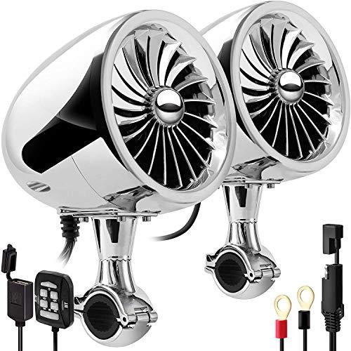 Aileap SPK350X 4 Pulgadas de Rango Completo, Impermeable, Motocicleta, Altavoces estéreo Bluetooth, Amplificador de Audio Todo en uno, Sistema de Radio para ATV RZR UTV (Cromo,Ventilador)