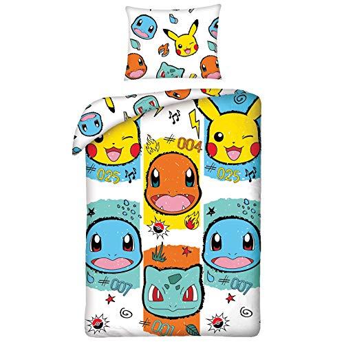 Halantex - POK277 - Set Letto Pokemon Bianco Con Facce Copripiumino Reversibile Federa Originale COTONE - Multicolore - 140x200cm + 70x90cm