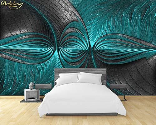Papel pintado 3D para salón, dormitorio, moderno color turquesa y verde, para pared, personalizable