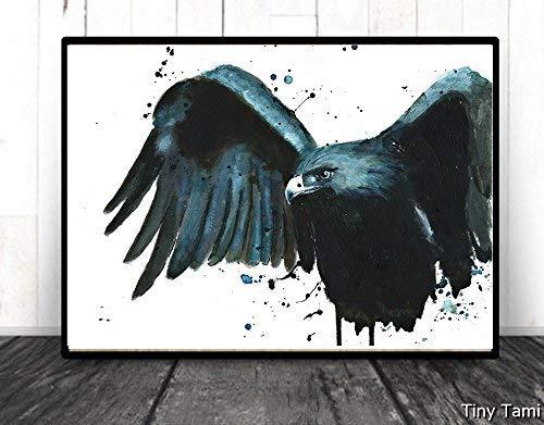 TinyTami - Aquarell Kunstdruck Adler Poster - Krähe Rabe Print 100% Handmade