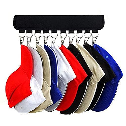 RUSTOO Organizador de Sombreros, 10 Soportes para Gorra de béisbol, Abrazadera para Sombreros de Ropa Plegable de Tela portátil (Negro)