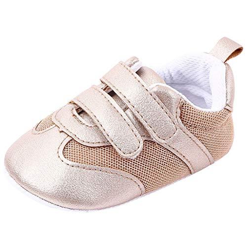 HDUFGJ Baby Jungen Mädchen Weiche Sohle Kleinkindschuhe 12-18 Monate(Gold)