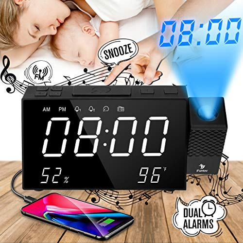 Orologio con Proiezione, iFunTec Radiosveglia con Proiettore Dimmerabile, FM Orologio con Doppi Allarmi,Funzione di Snooze, Schermo da 7pollici con Dimmer,Visualizza Tempo/Umidità/Temperatura