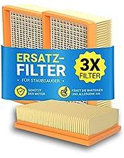 Platt veckat filter 3 stycken ersättning för Kärcher 2,863-005.0 WD4 WD5 WD6 MV4 MV5 MV6 hepa-filter frånluftsfilter lamellfilter tillbehör reservdelar för dammsugare/golvdammsugare/multi-purpose dammsugare