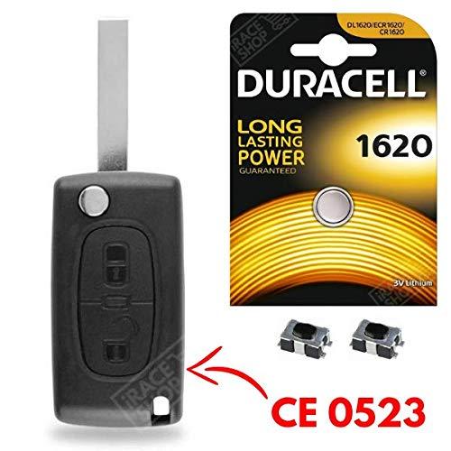 Coque de Clé Plip Télécommande Peugeot 107 207 308 307 407 807 3008 Partner + Switch + Pile CR1620 DURACELL - Kit iRace Keys®