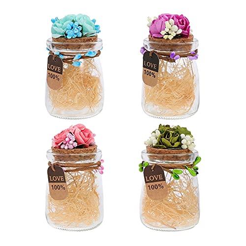 Lurrose 4 Unidades de Tarro de Cristal Mini Botella de Vidrio Tarro de Dulces de Boda Pequeño Contenedor de Golosinas para Fiestas con Tapa de Flores de Corcho Y Relleno para Dulces de