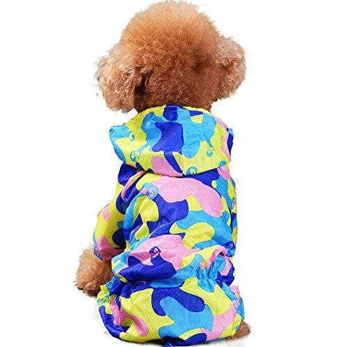 Corgi klaring regenjas Teddy Bichon puppy schnauzer kleine hond paraplu waterdichte poncho benen in blauw camouflage huisdier kleding S