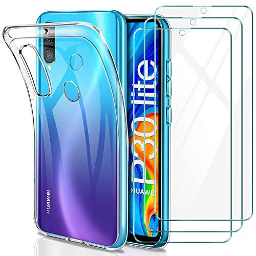 YNMEacc Coque Huawei P30 Lite, Silicone Transparente Case Souple Étui Protection Bumper Housse avec [Lot de 3] Verre trempé écran Protecteur pour Huawei P30 Lite
