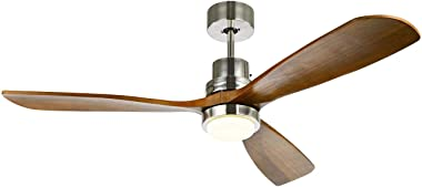 Indoor Ceiling Fan Light Fixtures Ceiling Fan with Remote Brushed Nickel & 3 Wood Blade for Bedroom, Living Room, Dining Room Including Motor, Reversible Switch
