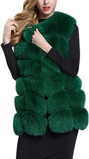 EFINNY Women Faux Fox Fur Sleeveless Vest Warm Long Gilet Lady Winter Waistcoat Jacket Oversized S-4XL