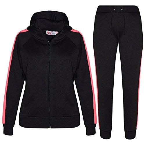 A2Z 4 Kids Kinder Mädchen Jungen Traininganzug Designer Schwarz & Neon Rosa Plain - T.S 102 Black Neon Pink_11-12