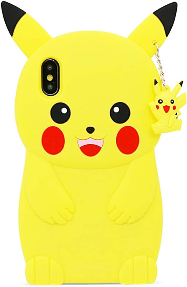 BEFOSSON Cute 3D Cartoon Pikachu Case for iPhone X/XS for Girls Teens Women Kids Boys, iPhone X/XS Funny Kawaii Pokemon Pikachu Soft Silicone Rubber Phone Cover Case (Yellow) 5.8 inches