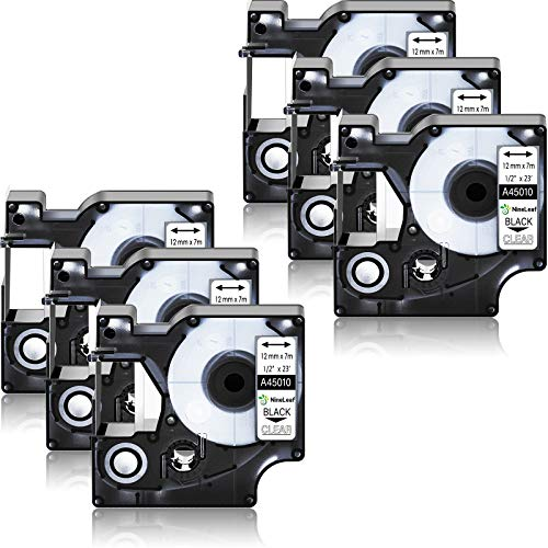 NineLeaf 6 Pack Compatible for DYMO D1 45010 S0720500 Black on Clear 12mm 1/2'' x 23ft Label Tape Refill Work in DYMO LabelManager 160 210D 260P 280 360D 420P 450D Wireless PnP 500TS 450 Label Maker