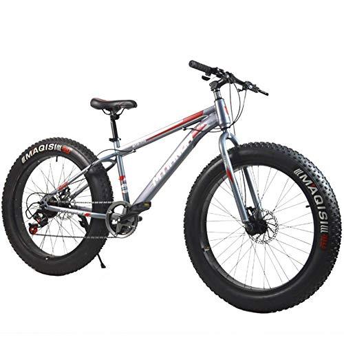 CHHD Bicicleta de montaña de 26 Pulgadas/Freno de Disco Dual Velocidad Variable 4.0 Neumático Aleación de Aluminio Llanta Gruesa Moto de Nieve 7 velocidades, Adecuado para Adultos Fat