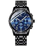 Reloj de Cuarzo cronógrafo Impermeable Informal de Acero Inoxidable para Hombre-B