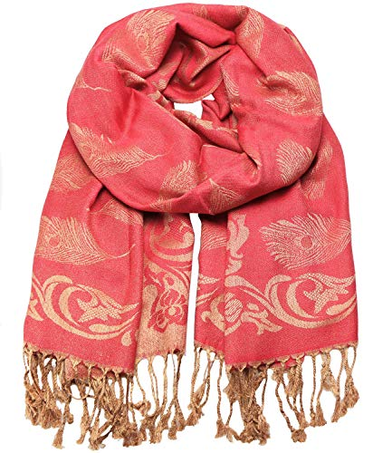 Caripe Caripe eleganter großer Damen Schal Paisley Stola XXL Halstuch Blumen Muster, stol99 (10WJ rot)