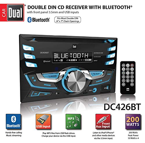 Dual Electronics DC426BT Multimedia 3.7 inch Double DIN Car Stereo with Bluetooth & Built- in CD/MP3 Player