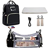Travel Bassinet baby diaper bag backpack with built in folding crib, Diaper Bag Backpack Changing Station, Waterproof, USB Charging Port, Portable Crib Infant Sleeper.Black+USB+Shade Cloth