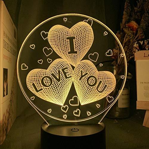 Lámpara De Ilusión 3D Luz De Noche Led Te Amo Tres Corazones Decoración Del Hogar Usb Con Pilas Decoración Del Dormitorio Regalos Para Niños Regalos De Cumpleaños