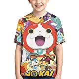 XCNGG Niños Tops Camisetas Boy T-Shirt Yo-Kai Watch 3D Printed Teenage Youth Boys Girls Short Sleeves Small