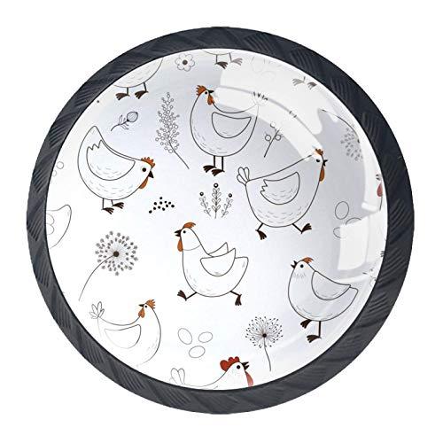 Nachttischknöpfe Strichmännchen Henne Kommode Schubladen Knopf Hippie Badezimmer Knöpfe für Baby 4er Pack 3.5×2.8CM