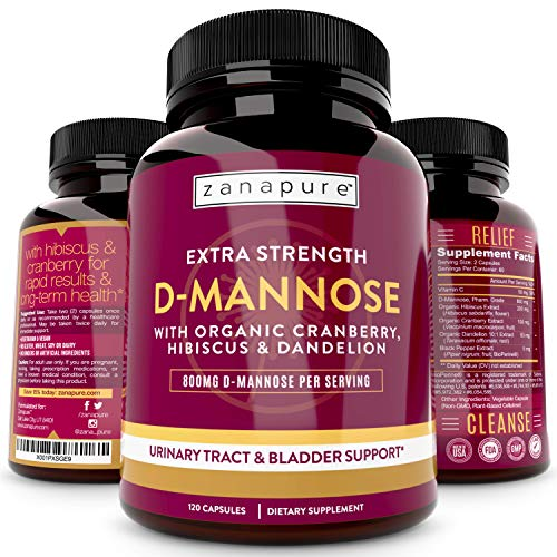 ZANAPURE Extra Strength D Mannose Capsules | 800MG Pharm Grade D Mannose Powder Per Svg | Organic Cranberry & Hibiscus, Fast UTI Relief, Ultimate Urinary Tract Cleanse & Bladder Support 120 Vegan Caps