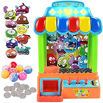 JOYIN Extra-Large Claw Machine Game Toy Candy Grabber Miniture Claw Machine & Prize Dispenser Vending Machine Toy Grabber Arcade Game with 10 Plush Animal Characters and 8 Capsules