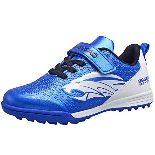 HSNA Jungen Sneaker, rutschfest Sportschuhe Kinder-Fußballschuhe mit Klettverschluss(Blau/Weiß 35)