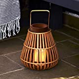 Lights4fun Bambus Laterne mit LED Kerze warmweiß Batteriebetrieb Timer 30cm