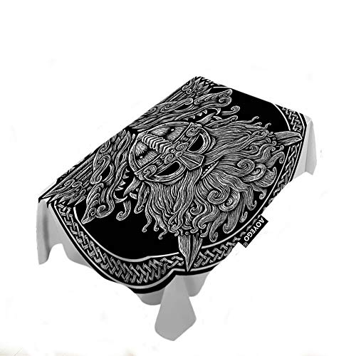 AOYEGO Norse Pdin with Wolf and Swords Table Cloths Rectangle Celtic Viking Warrior Black Ring Tablecloths Decoration 50X72 Inch Polyester for Outdoor Indoor Home Party Picnic