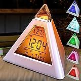 HLKJ De Noche Luz De La Noche, La Pirámide del Triángulo Reloj Despertador Luz De La Noche con El Termómetro Y 7 Colorido Función Modos De Luz Y Pausa