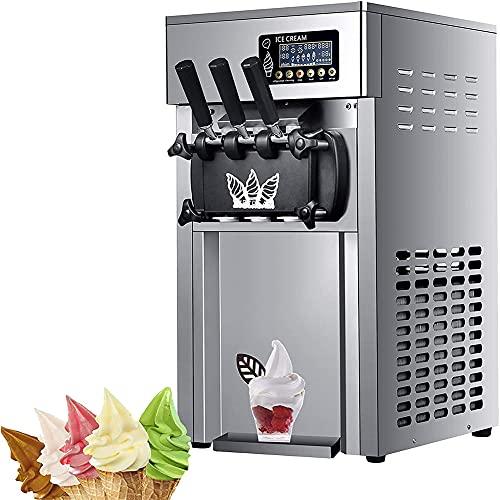 MNSSRN Gran Capacidad 3 sabores Máquina de Helados, Máquina de Helado de Acero Inoxidable de Escritorio Comercial eléctrico 1200W Máquina de Helado de Pantalla Inteligente con Bomba de hinchazón