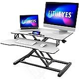 FITUEYES Standing Desk Bianco Converter Medio 32''/80cm Scrivania regolabile in altezza con ripiano per tastiera Scrivania in piedi SD308003WW