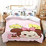 Yumhi Kids Comforter Cover Tsum Decorative 3 Piece Bedding Set with 2 Pillow Shams Bedding Duvet Cover Set King